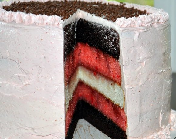 Neapolitan Layer Cake with Strawberry Swiss Meringue Buttercream