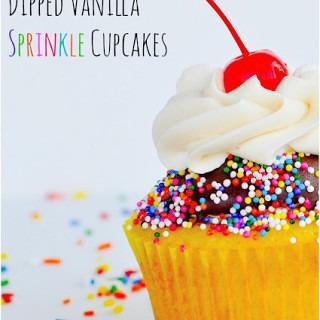 Dipped Vanilla Sprinkle Cupcakes