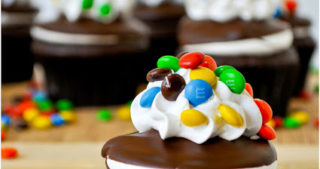 M&M Dipped Cupcakes