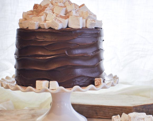Hot Chocolate Cake with Homemade Marshmallows