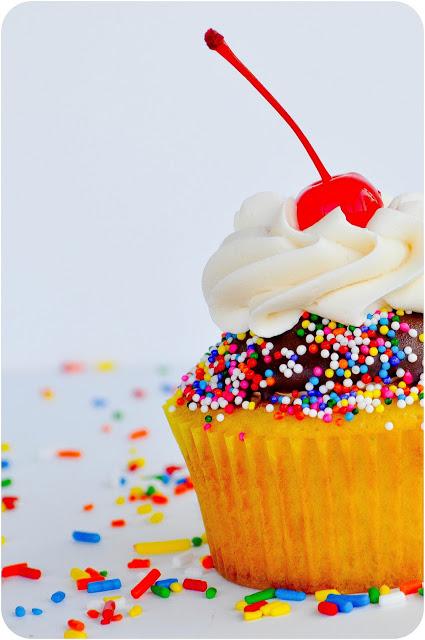Dipped Vanilla Sprinkle Cupcakes | www.lemon-sugar.com