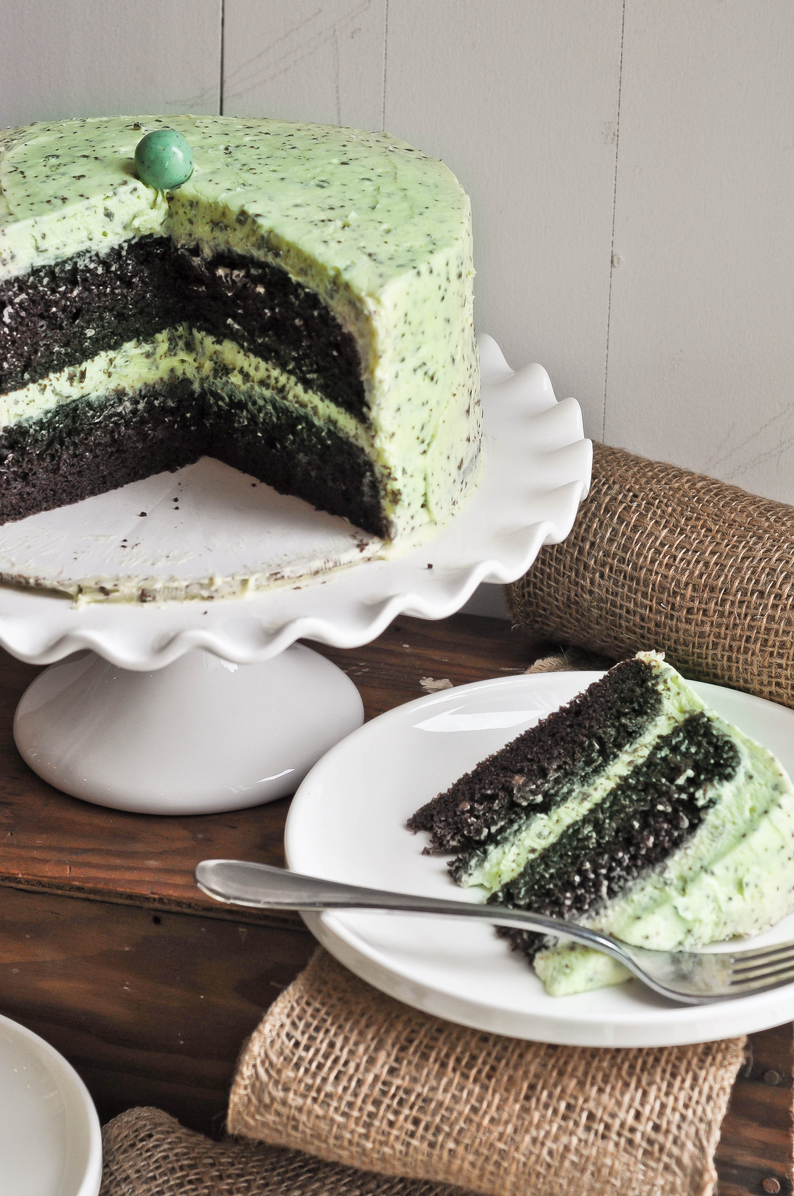 Mint Chocolate Chip Cake - Lemon Sugar