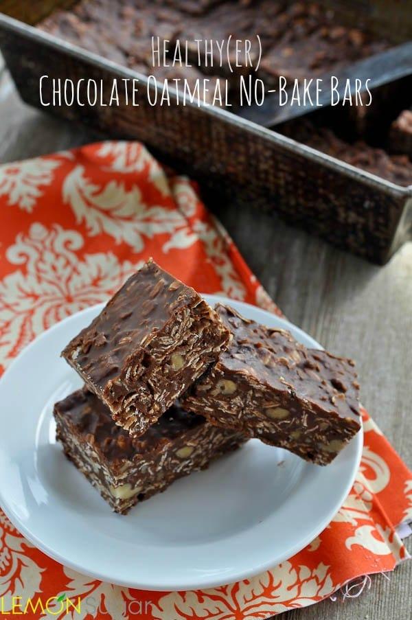 Healthy(er) Chocolate Oatmeal No-Bake Bars   www.lemon-sugar.com