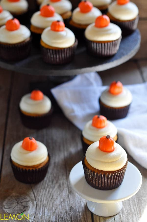 Pumpkin Cupcakes with Cream Cheese Frosting and Handmade Pumpkin Candies | www.lemon-sugar.com