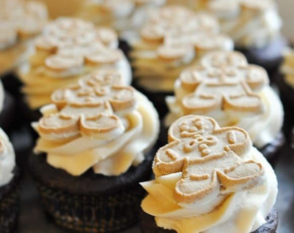 Chocolate Gingerbread Cupcakes with Brown Sugar Buttercream