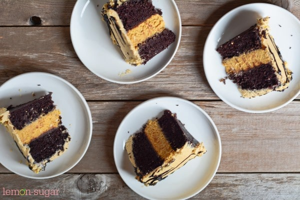 Chocolate Pumpkin Cheesecake Cake | www.lemon-sugar.com