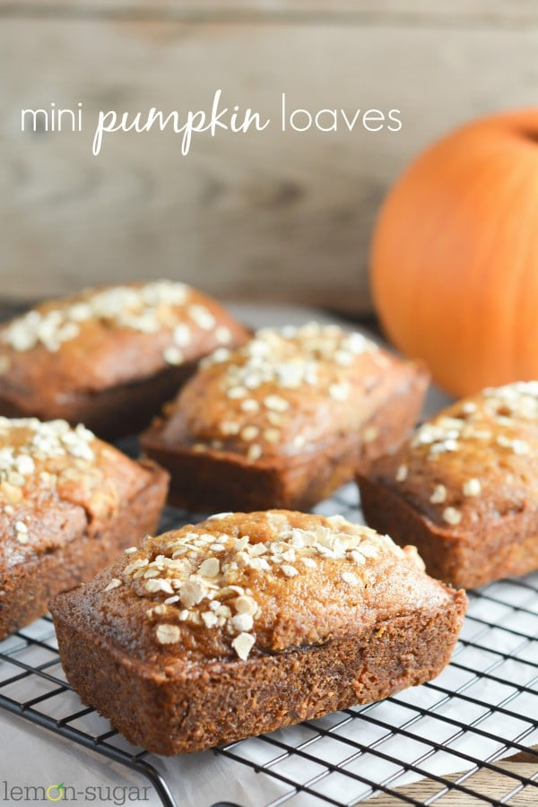 These Mini Pumpkin Loaves are super easy and a huge hit every time we make them.  One of my go-to recipes for fall!