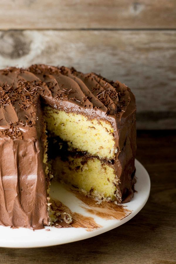 Yellow Cake with Fudge Frosting | lemon-sugar.com
